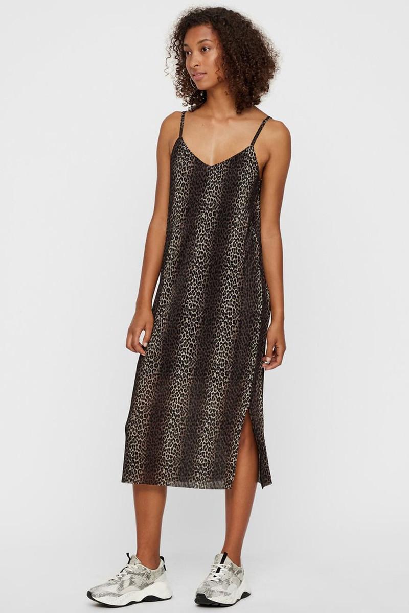 Ongebruikt PIECES bruine jurk met panterprint Era 17097327 PQ-27