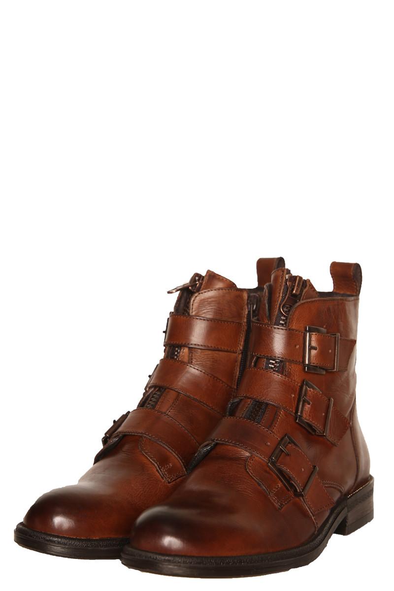 Shoecolate bruine enkellaars met gespen Kate 8.29.02.064