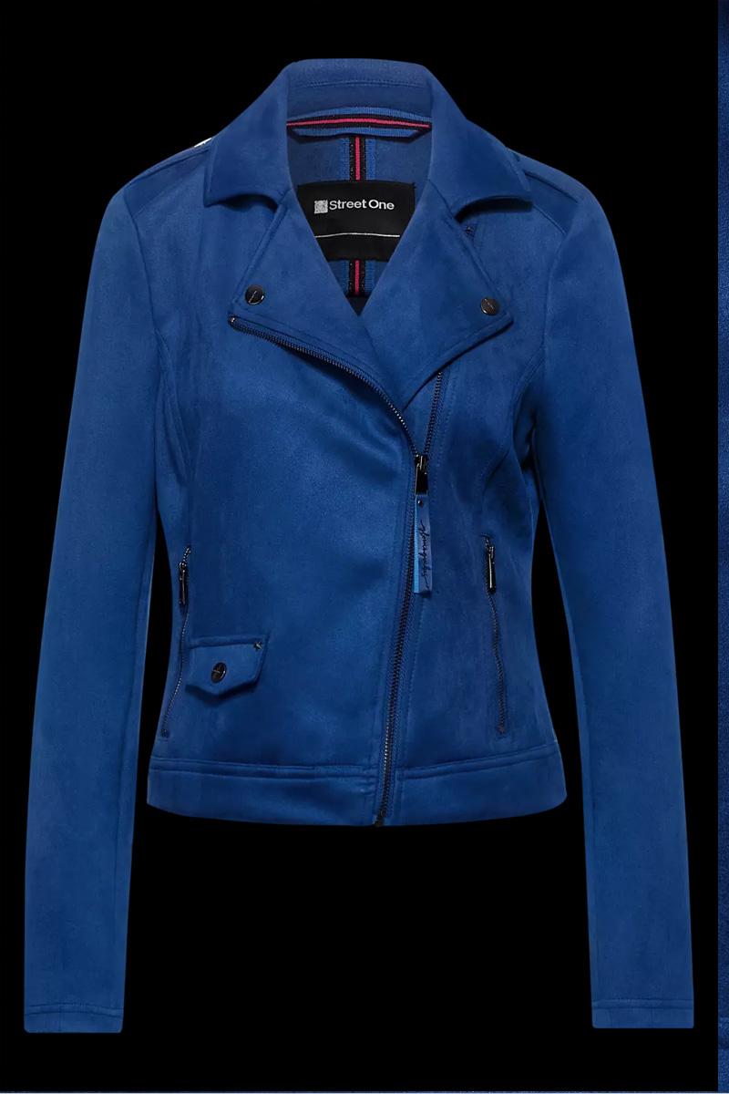 Street One cobalt blue suèdelook jas 211275