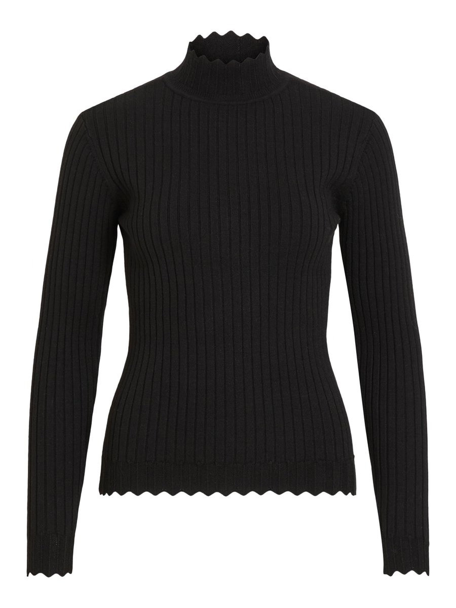 VILA zwarte fijngebreide trui Olivi 14055413 | Sake Store